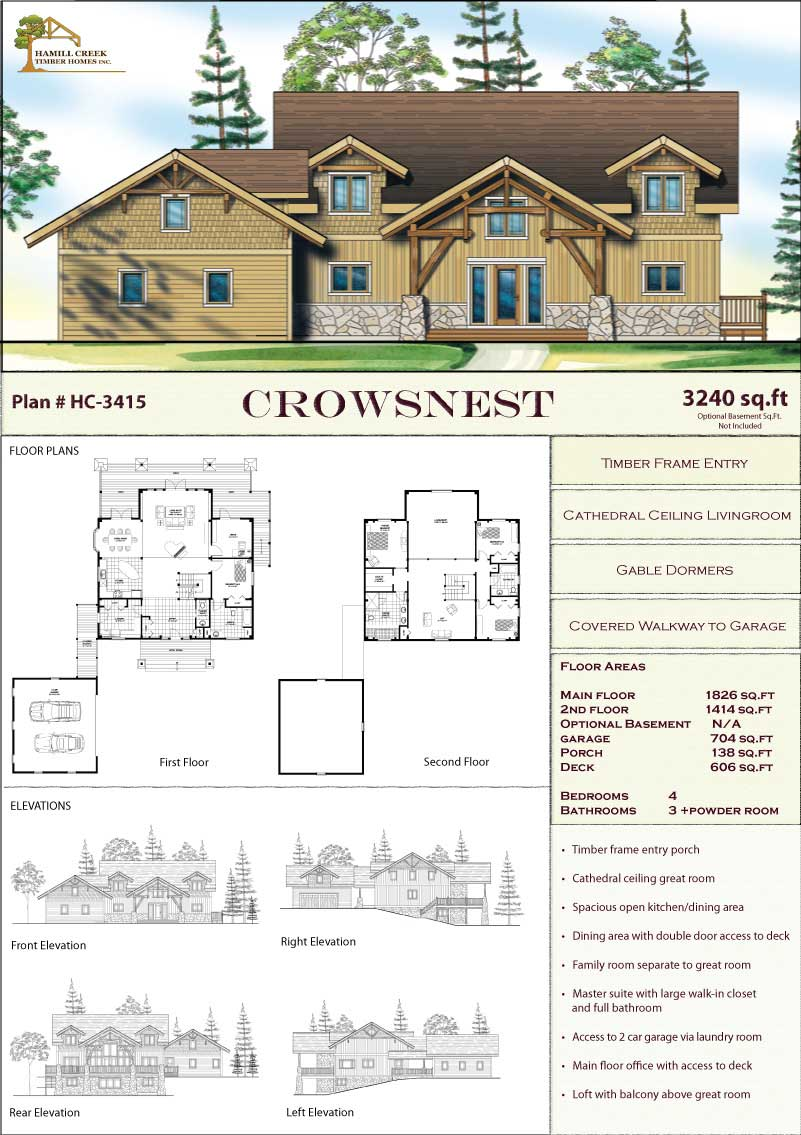 Timber frame home plans designs by hamill creek timber homes Timber framed house plans