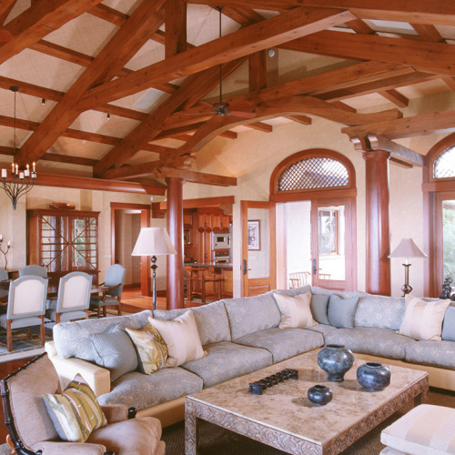 Timber frame home great room in Hawaii, Meldman Hale