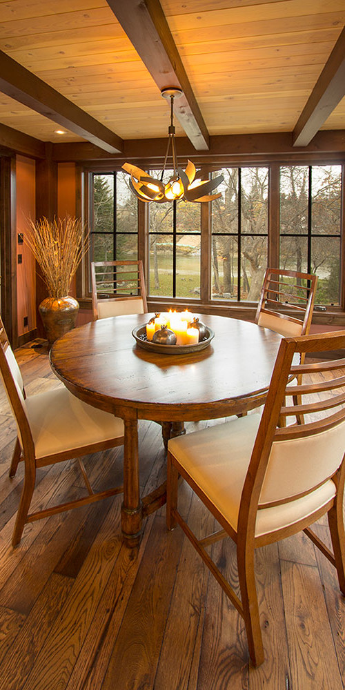Luxury modern timber frame home casual dining nook